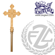 Processional Cross in brass or bronze with high polish finish in choice of 2 sizes with 54 inch staff and vinyl cover made in u s a by progressive Bronze PB389117