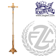 Processional Crucifix in brass or bronze with high polish finish choice of 2 sizes includes base made in u s a by progressive Bronze PB389207