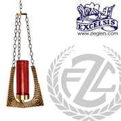 Hanging Sanctuary Lamp in choice of Brass or Bronze with 3 21 inch lengths of chain glass sold separately made in U S A by progressive bronze PB39050H