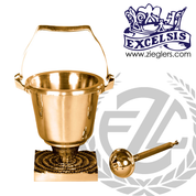 Aspersorium with modern style square base in brass or bronze with satin or high polish finish includes removable liner and aspergillum made in u s a by progressive Bronze PB39029