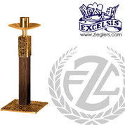 28 inch Paschal candlestick available in brass or bronze with satin finish comes with 2 inch socket made in u s a by progressive Bronze PB394227PC