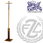 91 inch Processional Cross with zinc Corpus in brass or bronze with satin finish and wood column made in u s a by progressive Bronze PB394207