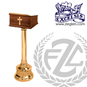 Standing Lectern made of bronze or brass and wood with high polish or satin finish stands 42 inches high made in  u s a by progressive bronze PB40132