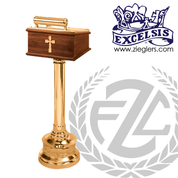 Standing Lectern with light made of bronze or brass and wood with high polish or satin finish stands 42 inches high made in  u s a by progressive bronze PB40132WL