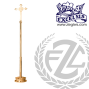 93 inch Processional Cross in brass or bronze with satin or high polish finish vinyl cover made in u s a by progressive Bronze PB401210
