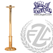 Paschal candlestick available in 2 sizes in brass or bronze with satin or high polish finish comes with 2 inch socket made in u s a by progressive Bronze PB41617PC