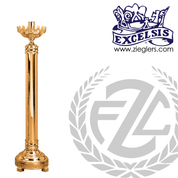 Paschal candlestick available in 2 sizes in brass or bronze with satin or high polish finish comes with 2 inch socket made in u s a by progressive Bronze PB43317PC