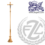 95 inch Processional crucifix in brass or bronze with satin or high polish finish with zinc Corpus in high polish finish made in u s a by progressive Bronze PB434207