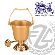 Aspersorium with round base in brass or bronze with high polish finish includes removable liner and aspergillum made in u s a by progressive Bronze PB44429