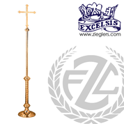 84 inch Processional Cross in brass or bronze with high polish finish stand staff and vinyl cover made in u s a by progressive Bronze PB444241