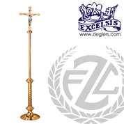 Processional Crucifix in brass or bronze with high polish finish with staff and vinyl cover made in u s a by progressive Bronze PB444207