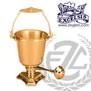 Aspersorium with embellished triangular base in brass or bronze with high polish finish includes removable liner and aspergillum made in u s a by progressive Bronze PB49929