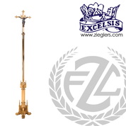 92 inch Processional Crucifix in brass or bronze with high polish finish with footed base and vinyl cover made in u s a by progressive Bronze PB49920