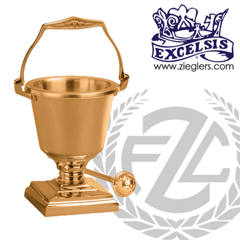 Aspersorium with square base in brass or bronze with satin or high polish finish includes removable liner and aspergillum made in u s a by progressive Bronze PB53729