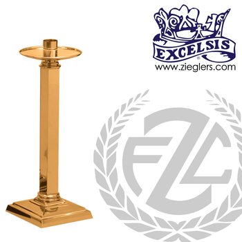 28 inch Paschal candlestick available in brass or bronze with satin or high polish finish comes with 2 inch socket made in u s a by progressive Bronze PB537227PC