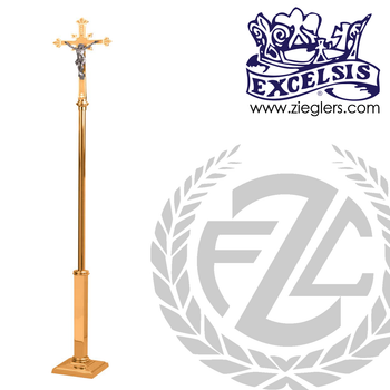 90 inch Processional Crucifix in brass or bronze with satin or high polish finish with square base made in u s a by progressive Bronze PB537207