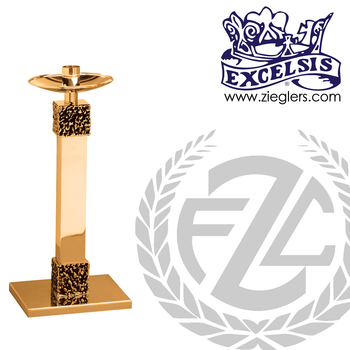 28 inch Paschal candlestick available in brass or bronze with satin or high polish finish comes with 2 inch socket made in u s a by progressive Bronze PB495227PC