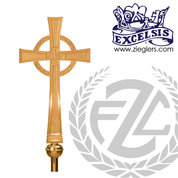 Processional Cross in brass or bronze with satin or high polish finish comes with 54 inch staff and vinyl cover stand sold separately made in u s a by progressive Bronze PB4807117