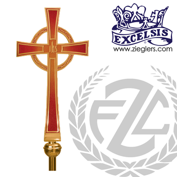 Processional Cross in brass or bronze with satin or high polish finish comes with 54 inch staff and vinyl cover stand sold separately made in u s a by progressive Bronze PB4807117P