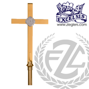 two tone Processional Cross in brass or bronze with satin or high polish finish 18 inch cross on 54 inch staff with vinyl cover made in u s a by progressive Bronze PB533117