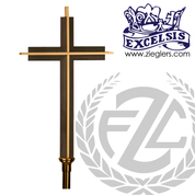 wood and metal Processional Cross in brass or bronze with satin or high polish finish 19 inch cross on 54 inch staff with vinyl cover made in u s a by progressive Bronze PB521117