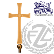 Processional Cross in brass or bronze with satin or high polish finish 21 inch cross on 54 inch staff with vinyl cover made in u s a by progressive Bronze PB3809117