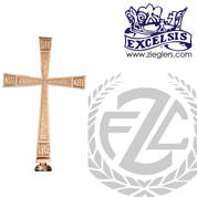 Processional Cross in brass or bronze with satin or high polish finish 21 inch cross on 54 inch staff with vinyl cover made in u s a by progressive Bronze PB3810117