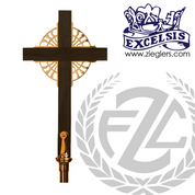 Processional Cross in brass or bronze with satin or high polish finish 20 inch cross on 54 inch staff with vinyl cover made in u s a by progressive Bronze PB4501117