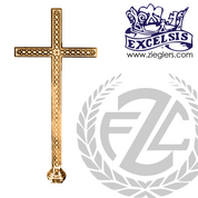 Processional Cross in brass or bronze with satin or high polish finish 20 inch cross on 54 inch staff with vinyl cover made in u s a by progressive Bronze PB4550117