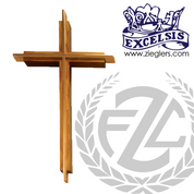 Oak Wall cross with cross insert made of bronze or brass with high polish or satin finish available in 7 sizes made in  u s a by progressive bronze PB521143