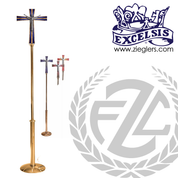 Processional Cross in brass or bronze with satin or high polish finish with choice of red blue or purple accent comes with staff and stand made in u s a by progressive Bronze PB5540271