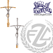 Papal style Processional Cross in brass or bronze with satin or high polish finish in bronze or silver color  comes with staff and stand made in u s a by progressive Bronze PB4545271