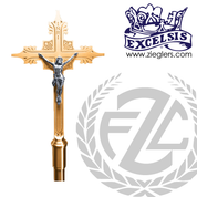 Processional Crucifix in brass or bronze with satin or high polish finish comes with staff and stand made in u s a by progressive Bronze PB4504271