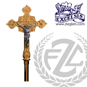 Processional Crucifix in brass or bronze with satin or high polish finish comes with staff and stand made in u s a by progressive Bronze PB4549271