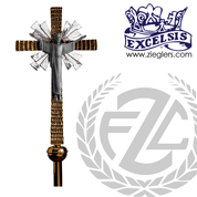 90 inch Risen Lord Processional Cross in brass or bronze with satin or high polish finish includes stand and staff with vinyl cover made in u s a by progressive Bronze PB4553271