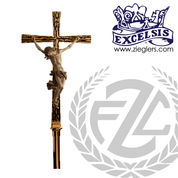90 inch Processional Crucifix in brass or bronze with satin or high polish finish includes stand and staff with vinyl cover made in u s a by progressive Bronze PB4557271