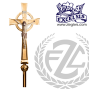 90 inch Processional Crucifix in brass or bronze with satin or high polish finish includes stand and staff with vinyl cover made in u s a by progressive Bronze PB4807271