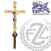 "Processional Crucifix | 88"" | Bronze or Brass | Wood Corpus | Budded Cross | 3811271 | USA"