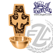 Holy water font in brass with satin finish with metal basin and plastic liner  made in u s a by progressive Bronze PB252483BHF