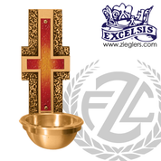 Holy water font in brass with satin finish with metal basin and plastic liner  made in u s a by progressive Bronze PB252983BHF