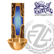 Holy water font in bronze with satin finish with 4 by 10 inch backplate and plastic liner for basin made in u s a by progressive Bronze PB253783BHF