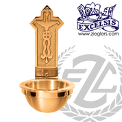 Holy water font in bronze with choice of high polish or satin finish available in 2 sizes with plastic liner for basin made in u s a by progressive Bronze PB253083HF