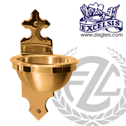 Holy water font in bronze with choice of high polish or satin finish available in 2 sizes with plastic liner for basin made in u s a by progressive Bronze PB253183HF