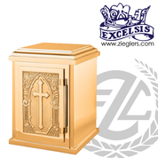Tabernacle measures 12 by 17 by 12 inches in bronze with combo satin and high polish finish has cross wheat and grapes accent comes with lock and 2 keys made in U S A by progressive bronze PB9530