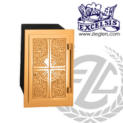 wall Tabernacle bronze face with choice of finish steel box interior white fabric lining and lock with 2 keys made in U S A by progressive bronze PB3723