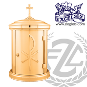 Tabernacle measures 21 by 12 inches in bronze with combo satin finish has Chi Rho accent and interior white fabric lining and lock with 2 keys made in U S A by progressive bronze PB5469