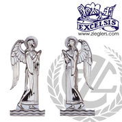 left or right standing angel Wall Plaque measures 5 and 1 half by 12 inches made of bronze or nickel silver with high polish made in U S A by progressive bronze PB902