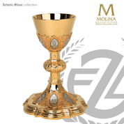 12 apostles chalice and paten 8 and 1 half  inches by 4 and 3 eighths inches holds 12 ounces with choice of 3 compositions made in spain by artistic silver AS2132CP