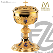 covered ciborium with 12 apostles on enamel medallions stands 10 and 1 eight inches holds 200 hosts AS2132CBL