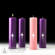 Star of Magi Advent Altar Candle Set with 3 Purple and 1 Pink candles made of Stearine wax measuring 3 inches by 12 inches CC82301160